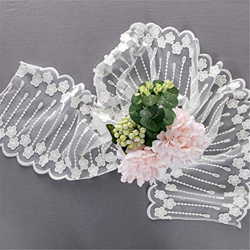 EXQULEG Camino de mesa bordado de flores, moderno, bohemio, blanco, encaje, camino de mesa, mantel para boda, decoración, vintage, decoración de mesa (30 x 200 cm)