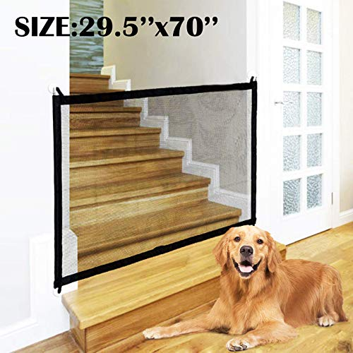 Dog Gate Magic Gate For Dogs Pet Gate In Door 29.5 X 70in(75cm X 180cm) Bady Fence Large Safety Gate With 4 Sticky Hooks And Pole Retractable Gate Extendable Stairgates For Pets Install Anywhere