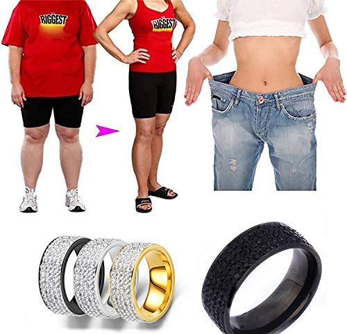 LONG-D 2 pcs Magnetring Edelstahl Gewichtsverlust Ring Anti Müdigkeit Anti-Cellulite Abnehmen Quer Sand Ring Für Frauen Schmuck Geschenk Fingerringe,Gold,9 = 19 mm