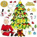 FunPa Fieltro Árbol de Navidad, Árbol de Navidad DIY con 50 Luces LED 35 Unids Adornos Navidad...