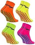 Rainbow Socks - Damen Herren Neon Sneaker Sport Stoppersocken - 4 Paar - Orange Grün Gelb Rosa -...