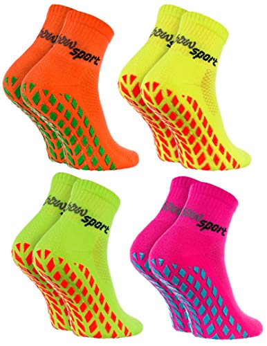 Rainbow Socks - Damen Herren Neon Sneaker Sport Stoppersocken - 4 Paar - Orange Grün Gelb Rosa - Größen 39-41