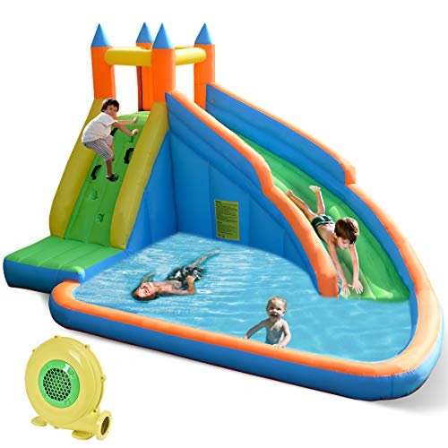 Costzon Inflatable Slide Bouncer, Water Pool with Long Slide, Climbing Wall, Including Oxford Carry...