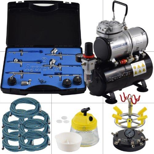 Agora-Tec® Airbrush Komplett-Set PROFI XXV.2, Komplettsystem für Airbrushanwendungen, inkl. Kompressor mit 4 bar und 20l/min mit 3 Liter Tank + 6 Airbrushpistolen mit 6 versch. Nadeln/Düsen + 8-fach Pistolenhalter + Clean Pot + 7 Schläuche