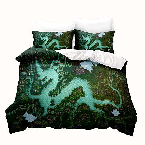 LKFFHAVD Juego de ropa de cama Anime Raya y el último dragón, microfibra 3D, funda de edredón con fundas de almohada, adecuado para niños y niñas (135 x 200 cm, 7)