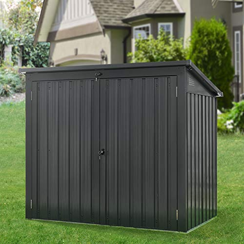 Hanover HANBINSHD-Gry 2-Point Locking System, Dark Gray Galvanized Steel Trash and Recyclables Storage Shed