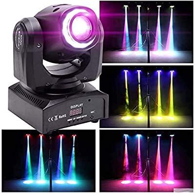 U'King Moving Head Stage Light,5x10W RGBW LED Mini Moving Head lighting with Auto/Remote/DMX512 Control Modes for Bars Disco hall Performance Places Sound Activated (8 Gobos 8 Colors)