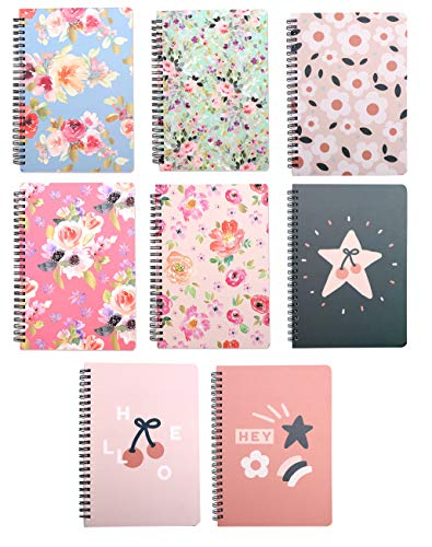 Yansanido 8pcs (A5) Spiral Notebook Journal Planner 8.26 x 5.9 Inch College Ruled Lined Notebook White Paper for Students Office School Supplies (A5, A5 8pcs-Flower,Fruits)