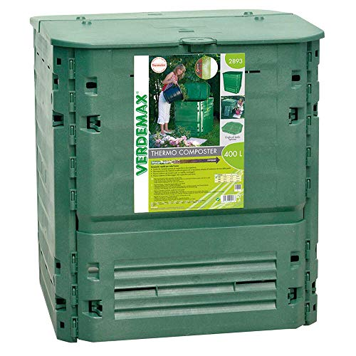 Compostiera da Giardino 400L 74x74xH84cm Rama Thermo-King Verde