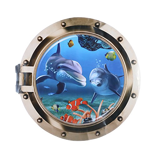 GLOBEAGLE 3D Wall Stickers Dolphin Ocean View Living Bedroom Wall Sticker Fake Window 3D Sea World 50 * 50cm