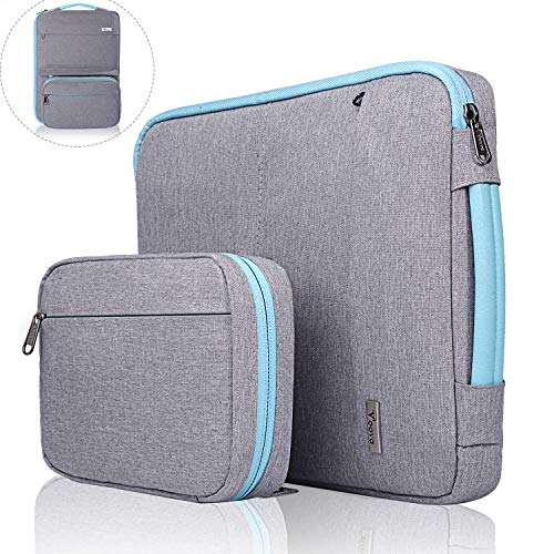 Voova 14-15.6 Inch Laptop Sleeve Bag Cover Special Design Waterproof Computer Protective Carry Case with Detachable Accessory Pocket Compatible with Chromebook,MacBook Pro Retina 15.4',Hp, Light Grey