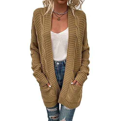 Herbst Und Winter Casual Fashion Damen V-Ausschnitt Einfarbig Langarm Twist Strick Strickjacke Lose Pullover Mittellange Taschenjacke Damen