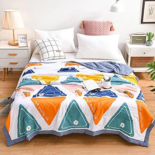 FENXIXI Colchón de Verano colchón Suave cálido Colcha Colcha Colcha sofá Tela Escocesa luz Delgada Lavado mecánico (Color : Color Mixing, Size : 150x200cm)