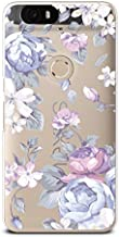 CasesByLorraine Nexus 6P Soft Case, Purple Flowers Clear Transparent Case Floral Pattern TPU Soft Gel Protective Cover for Huawei Nexus 6P (I33)