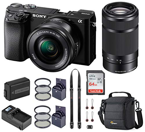Sony Alpha A6100 Mirrorless Digital Camera, with 16-50mm and 55-210mm (Black) Bundle with Neck Strap, Battery, Charger, and Accessories