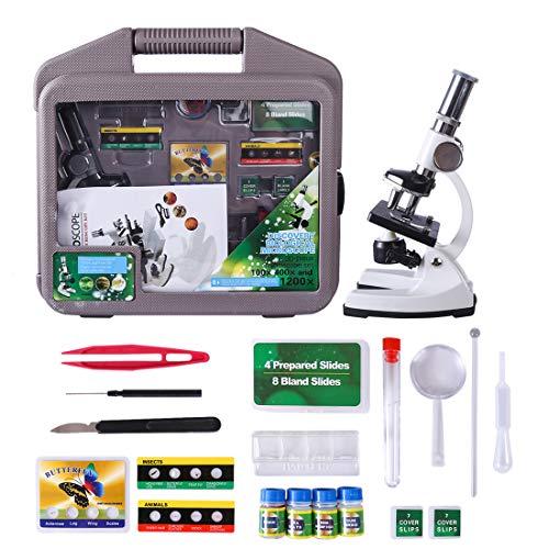 iVansa Microscopios Infantiles, Microscopios Juguete 1200x, Experimentos Juguete Microscopio de Plástico Pequeños Microscopio de la Ciencia para Niños