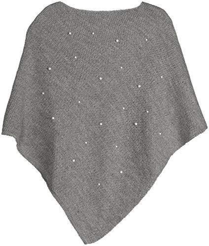 styleBREAKER Damen Feinstrick Poncho mit Perlen Applikation, Rundhals 08010056, Farbe:Hellgrau