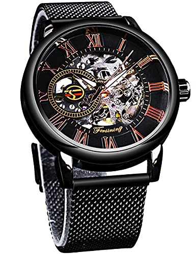 Forsining Caja Transparente Relojes Automáticos Luminosos Hombres Relojes Mecánicos Negro Reloj De Pulsera De Acero Inoxidable Clásico Macho Relojo