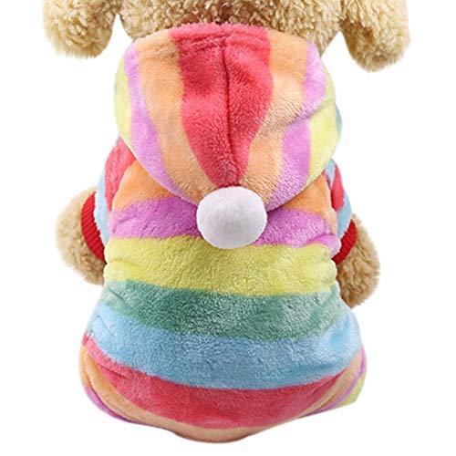Amphia - Hund Pullover Mantel Weihnachten,Hund Flanellkleidung - Haustier-Kleidung Hundekatze Nettes buntes mit Kapuze Mantel-Kleid(Mehrfarbig,XL)