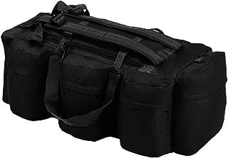 Bolso de Lona Estilo Militar 3-en-1 120L Negro Maleta Mochila Deportes