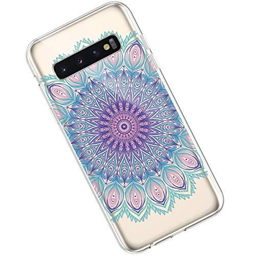 Qjuegad Kompatibel mit Samsung Galaxy S10 Hülle Clear Ultra Slim Weiche TPU Flexibles Kreatives Windspiel Mandala Silikon Gummi Stoßfest Leichtes,Kratzfestes Schutz Gehäuse Hülle