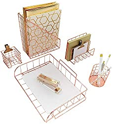 Rose Gold Desk Four Piece Accessory Set on Amazon for $30.97