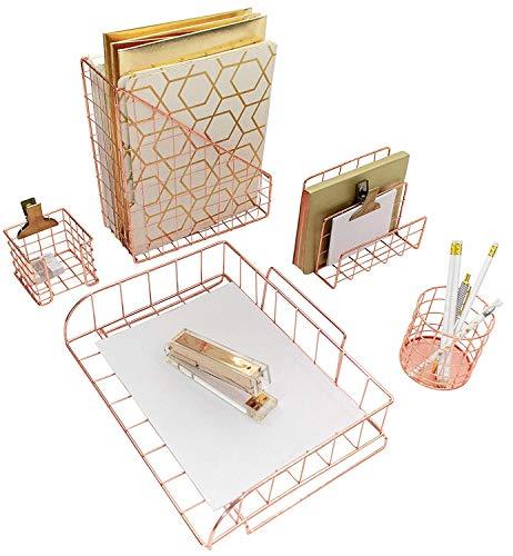 Blu Monaco Rose Gold Desk Organizer - 5 Piece Desk Accessories Set - Letter - Mail Organizer, Paper-Document Tray, Pen Cup, Magazine File Holder - Diagonal Pattern - Office Supplies Stationery Décor