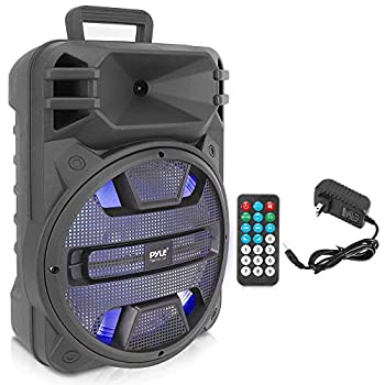 Portable Bluetooth PA Speaker System - 800W Outdoor Bluetooth Speaker Portable PA System w/Microphone in Party Lights USB SD Card Reader FM Radio Remote Control - Pyle PPHP1243B