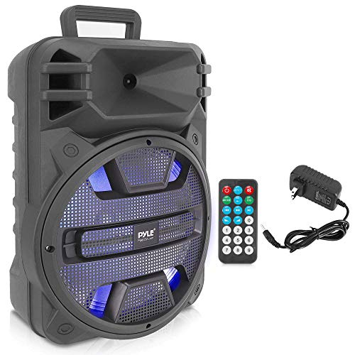 Portable Bluetooth PA Speaker System - 800W Outdoor Bluetooth Speaker Portable PA System w/Microphone in, Party Lights, USB SD Card Reader, FM Radio, Remote Control - Pyle PPHP1243B