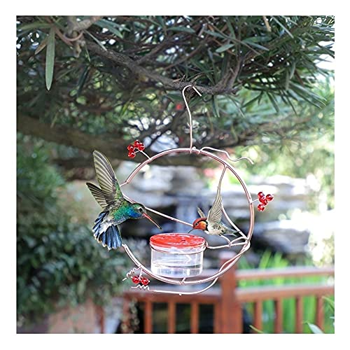 CXSD Hummingbird Feeder, Leakproof and Easy to Clean & Fill, With Rest Table and Metal Hook, Red Berries Decoration Best Hummingbird Feeders, for Outside Hanging Deck, Patio, Garden, Yard