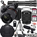 Sony Alpha a7 III Mirrorless Digital Camera with 28-70mm and 420-800mm Telephoto Lens + 2X 64GB Memory Card, UV & Close-up Filters, Microphone, Portable Tripod, Gadget Bag & More