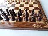 Juego de ajedrez de madera tallada Caja de madera de haya 50x50 cm con piezas de ajedrez de madera de avellana Damas backgammon