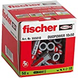 fischer 555010 DUOPOWER Wall Plug, Red/Grey, 10x50, Set of 50 Pieces