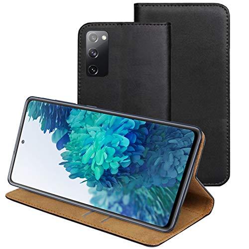 MOELECTRONIX ECHT Leder Hülle passend für Samsung Galaxy S20 FE (Fan Edition) 4G 5G | Buch Tasche Lederhülle mit Karten & Notizfach | Flip Hülle Klapp Schutzhülle Schwarz