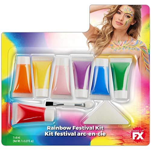 Amakando Set de Maquillaje Multiusos arcoíris / 7x8ml / Maquillaje de Teatro Mariposa en Colores del arcoíris / Insuperable para Festival y Fiestas temáticas