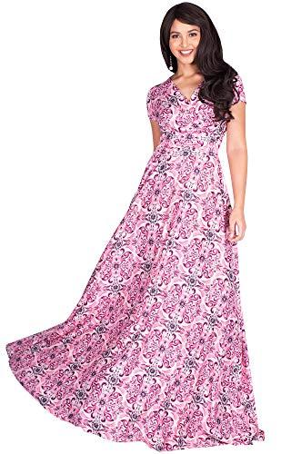 KOH KOH Plus Size Womens Long Flowy Modest V-Neck Short Cap Sleeve Casual Floor Length Bohemian Boho Damask Print Summer Sundress A-line Maternity Tall Maxi Dress Gown, Blue & Orange XL 14-16