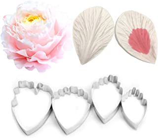 AK ART KITCHENWARE Gum Paste Peony Veiner and Stainless Steel Fondant Cutter Set Silicone Veining Mold Sugar Paste Making Tool Cake Decorations A356&VM062
