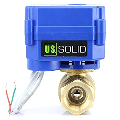 """U.S. Solid 1"""" Motorized Ball Valve 85-265V AC Brass Electrical Ball Valve, 2 Wire Auto Return Setup Normally Closed from U.S. Solid"""