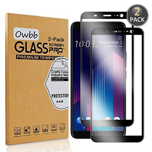 Owbb [2 Stück] Schwarz Gehärtetes Glas Bildschirm schutzfolie Für HTC U11 + / HTC U11 Plus Full Coverage Schutz 99prozent High Transparent Explosionsgeschützter Film