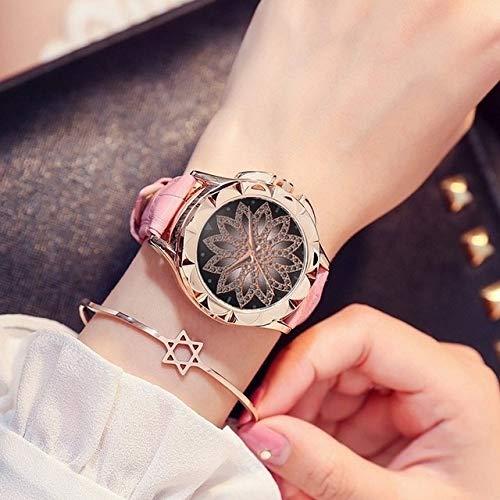 para los Relojes SSL Informal Lotus marcación patrón de Cuero Correa de Reloj de Cuarzo (Negro) (Color : Rosado)