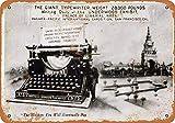 Placa decorativa de metal pintada con diseño de máquina de escribir de None Brand Underwood