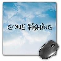 3dRose Gone Fishing Clouds バックグラウンド ブラックレタリングマウスパッド (mp_172371_1)