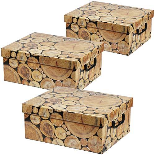 com-four® 3X Aufbewahrungsbox in toller Holzoptik - Dekokarton zur Aufbewahrung von Dokumenten, Unterlagen, Bastelzubehör, Zeitschriften und mehr - mit Griffen (03 Stück - Baumstämme)