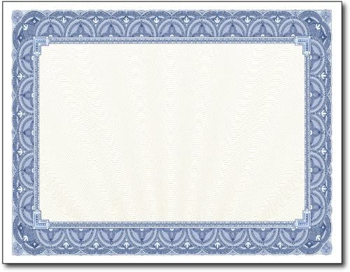 Blue Border Blank High order Certificate Paper - 11
