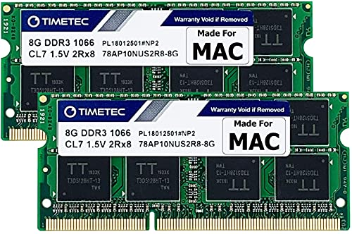 Timetec 16GB KIT(2x8GB) Compatible for Apple DDR3 1067MHz / 1066MHz PC3-8500 RAM for Mac Book (Mid 2010 13-inch), Mac Book Pro (Mid 2010 13-inch), iMac (Late 2009 27-inch), Mac Mini (Mid 2010) MAC RAM