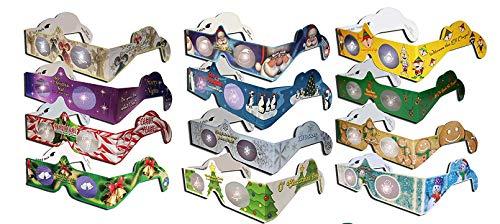 12 Pairs - 12 Different Styles - 3D Holiday Eyes(tm) Glasses - Ships Flat - For Holiday Lights - Exclusive Holiday Tree and Jingle Bells - Transform Holiday Lights Into Magical Images -