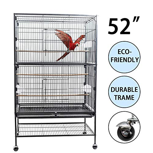 D4P Display4top Bird Cage Nero in Ferro battuto di Grandi Dimensioni Outdoor Courtyard Gabbia Voliera per Uccelli pappagalli per cacatua, Pappagallo, canarino per e Legno e Ruote,131 x 52 x 79cm