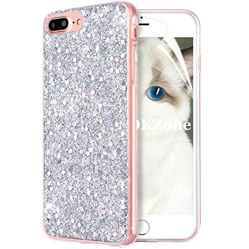 OKZone Cover iPhone 8 Plus,Custodia iPhone 7 Plus Custodia Lucciante con Brillantini Glitters Ultra Sottile Designer Case Cover per Apple iPhone 7 Plus/iPhone 8 Plus 5.5 Pollici (Argento)