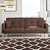 Divano Roma Furniture Modern Plush Tufted Linen Fabric Sleeper Futon, Small, Brown