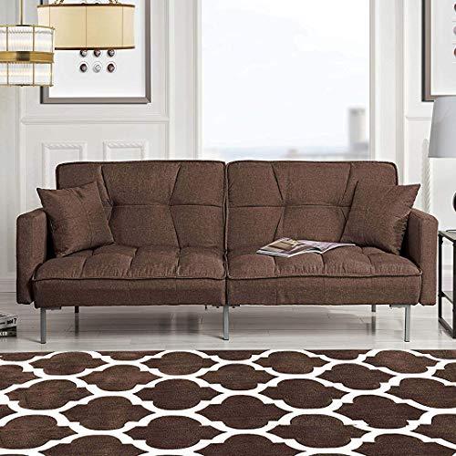 Divano Roma Furniture Modern Plush Tufted Linen Fabric Sleeper Futon, Small, Brown